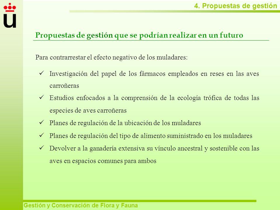 4. Propuestas de gestión Gestión y Conservación de Flora y Fauna Propuestas de gestión que se podrían realizar en un futuro Investigación del papel de