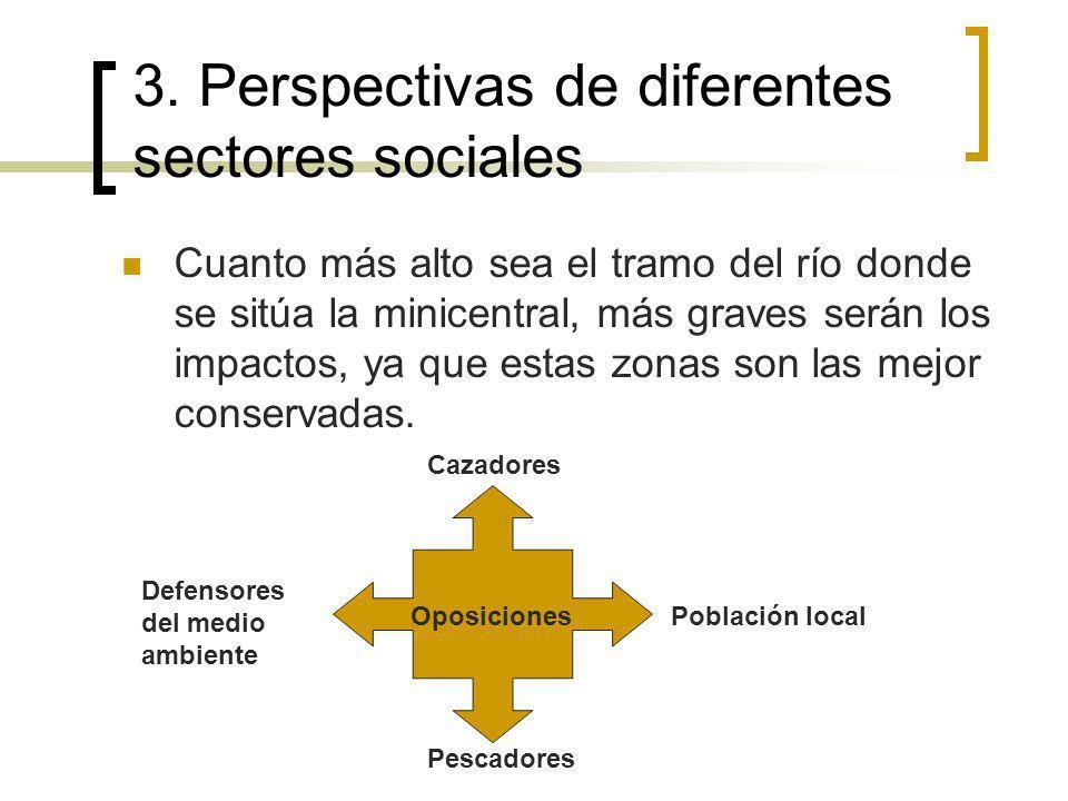 3. Perspectivas de diferentes sectores sociales Cuanto más alto sea el tramo del río donde se sitúa la minicentral, más graves serán los impactos, ya
