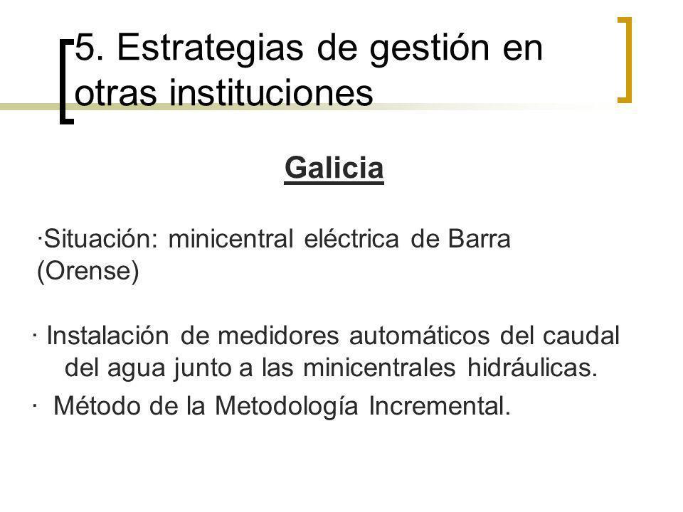 Galicia · Instalación de medidores automáticos del caudal del agua junto a las minicentrales hidráulicas. · Método de la Metodología Incremental. 5. E