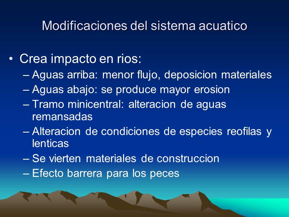 Modificaciones del sistema acuatico Crea impacto en rios: –Aguas arriba: menor flujo, deposicion materiales –Aguas abajo: se produce mayor erosion –Tr