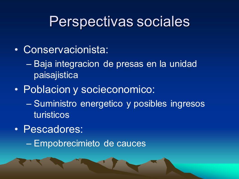 Perspectivas sociales Conservacionista: –Baja integracion de presas en la unidad paisajistica Poblacion y socieconomico: –Suministro energetico y posi