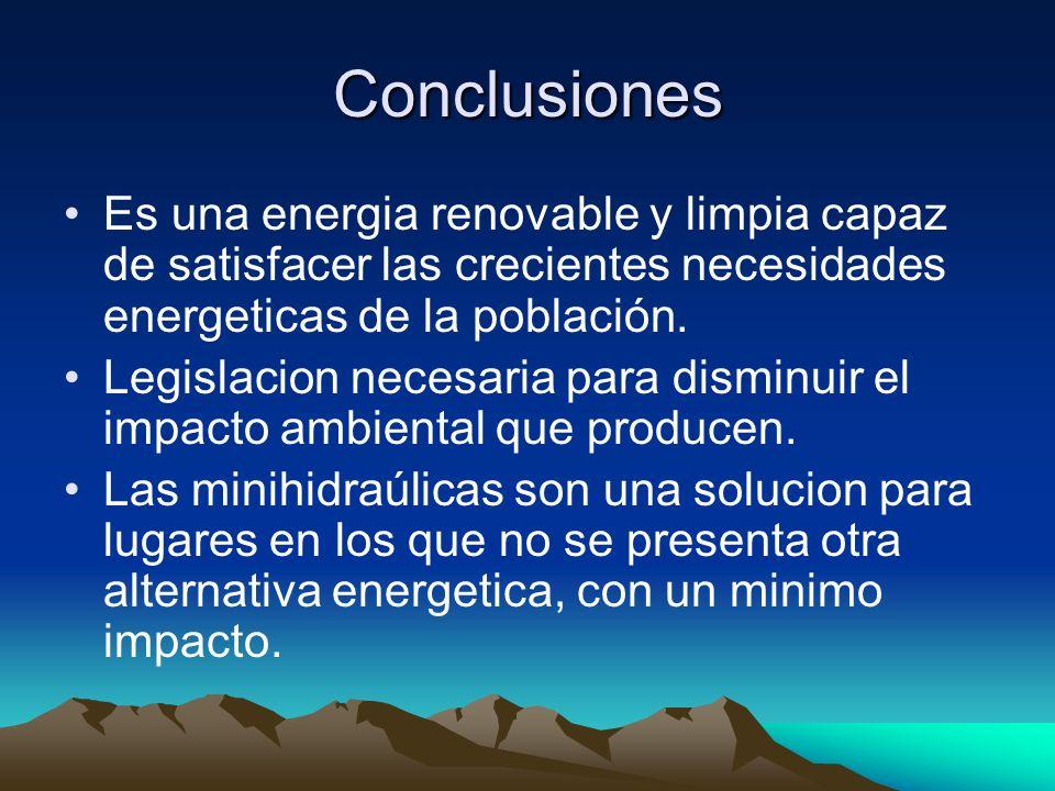 Conclusiones Es una energia renovable y limpia capaz de satisfacer las crecientes necesidades energeticas de la población. Legislacion necesaria para