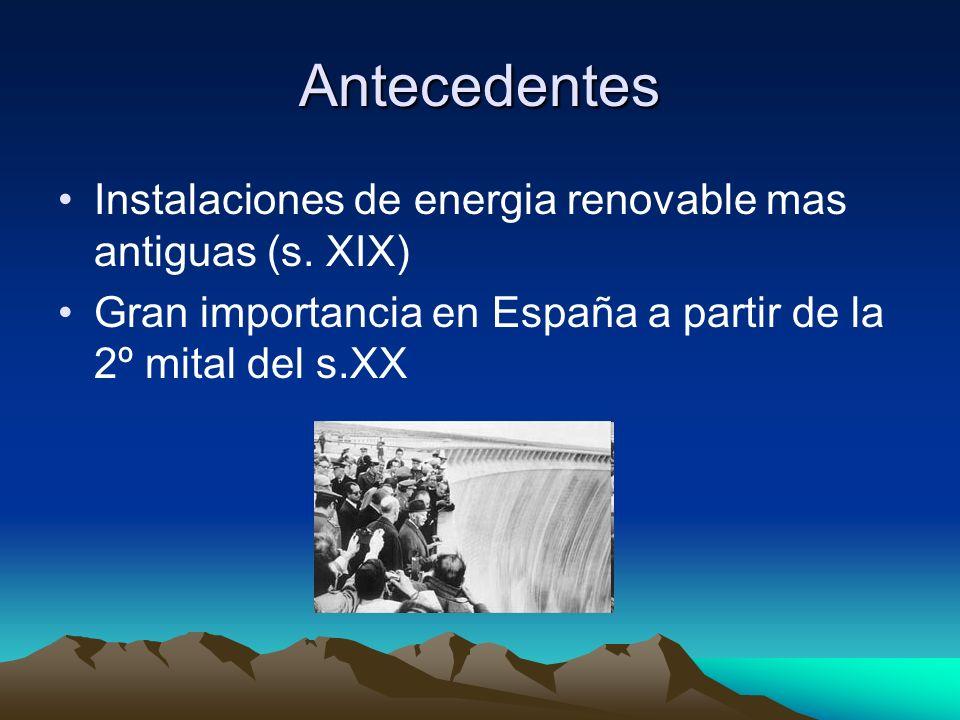 Antecedentes Instalaciones de energia renovable mas antiguas (s. XIX) Gran importancia en España a partir de la 2º mital del s.XX