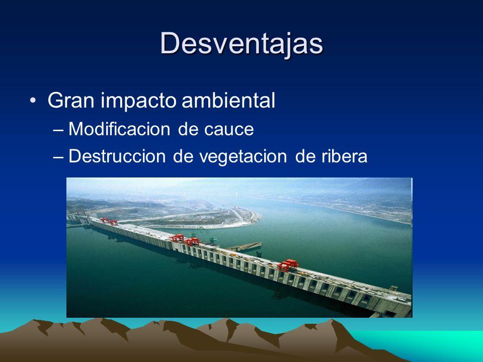 Desventajas Gran impacto ambiental –Modificacion de cauce –Destruccion de vegetacion de ribera