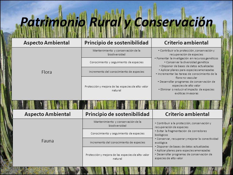Patrimonio Rural y Conservación Aspecto AmbientalPrincipio de sostenibilidadCriterio ambiental Flora Mantenimiento y conservación de la biodiversidad