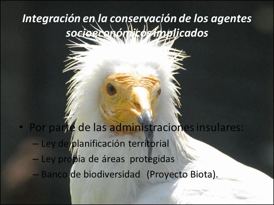 Integración en la conservación de los agentes socioeconómicos implicados Por parte de las administraciones insulares: – Ley de planificación territori