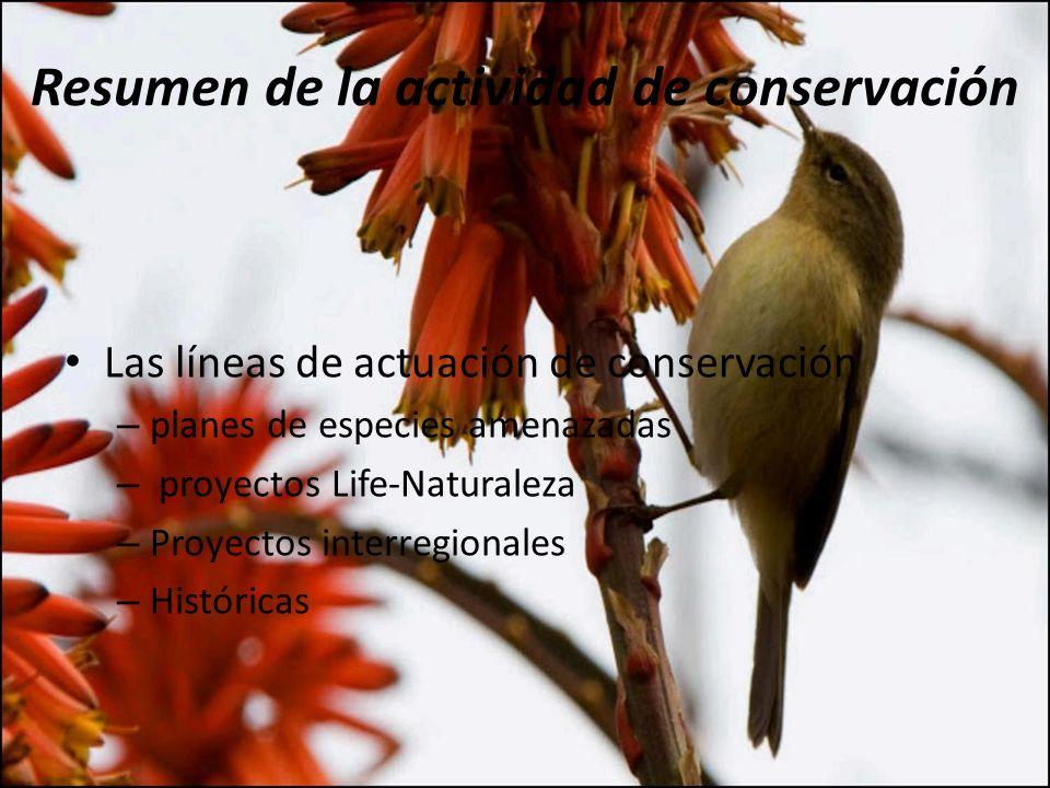 Resumen de la actividad de conservación Las líneas de actuación de conservación – planes de especies amenazadas – proyectos Life-Naturaleza – Proyecto