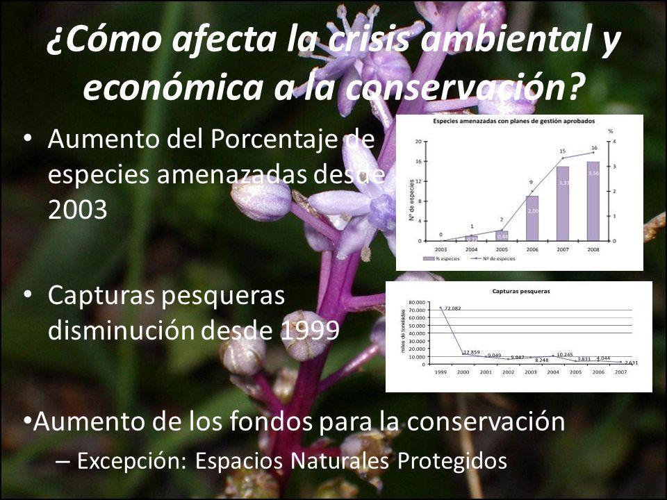 Aumento del Porcentaje de especies amenazadas desde 2003 Capturas pesqueras disminución desde 1999 ¿Cómo afecta la crisis ambiental y económica a la c