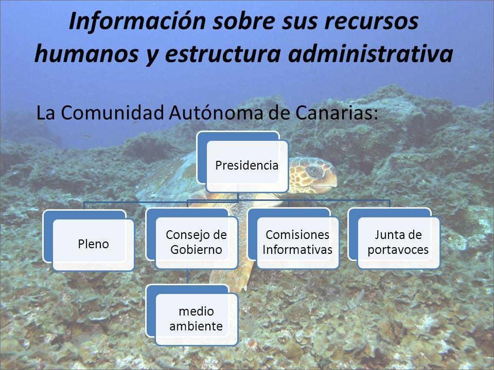 Información sobre sus recursos humanos y estructura administrativa PresidenciaPleno Consejo de Gobierno medio ambiente Comisiones Informativas Junta d