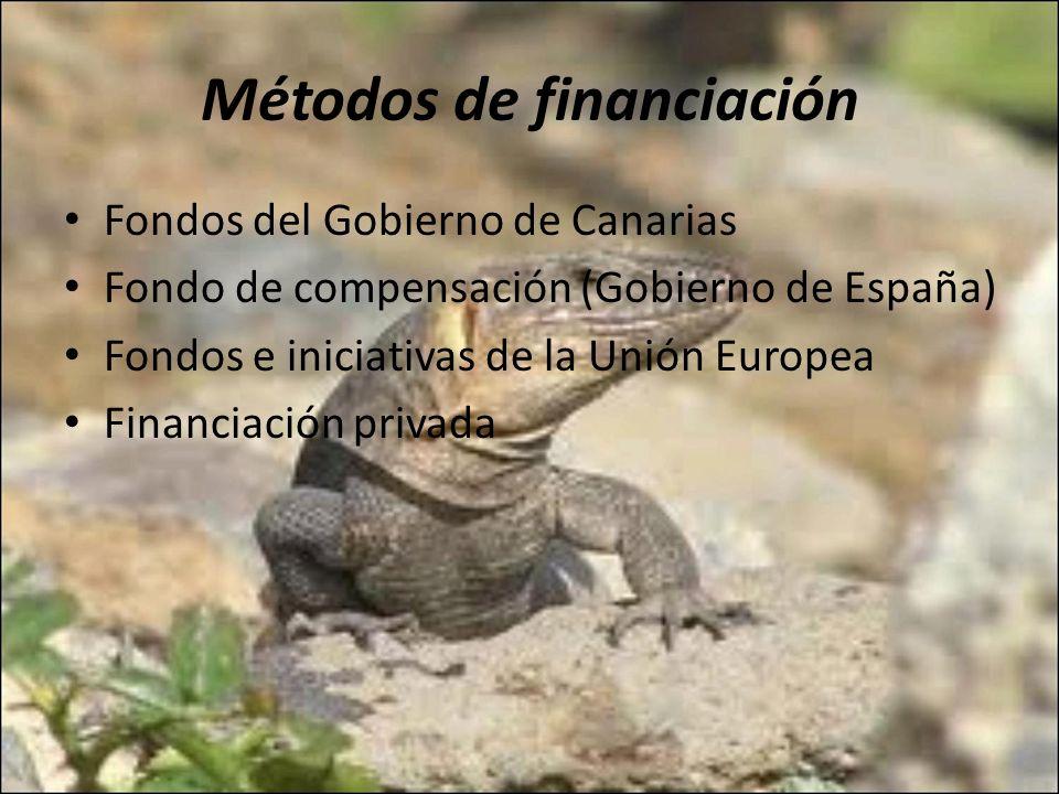 Métodos de financiación Fondos del Gobierno de Canarias Fondo de compensación (Gobierno de España) Fondos e iniciativas de la Unión Europea Financiaci