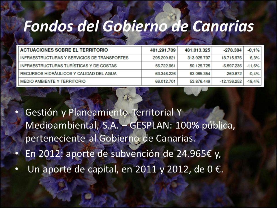 Fondos del Gobierno de Canarias Gestión y Planeamiento Territorial Y Medioambiental, S.A. – GESPLAN: 100% pública, perteneciente al Gobierno de Canari