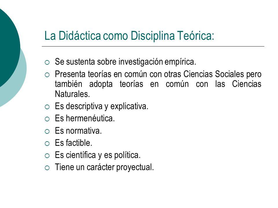 La Didáctica como Disciplina Teórica: Se sustenta sobre investigación empírica. Presenta teorías en común con otras Ciencias Sociales pero también ado