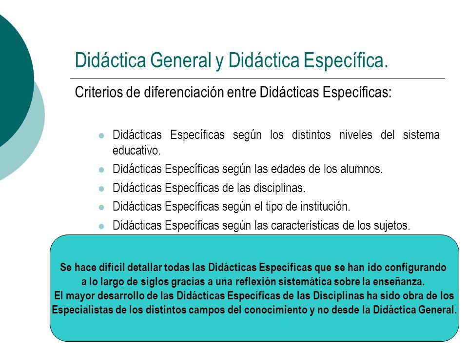 Didáctica General y Didáctica Específica. Criterios de diferenciación entre Didácticas Específicas: Didácticas Específicas según los distintos niveles