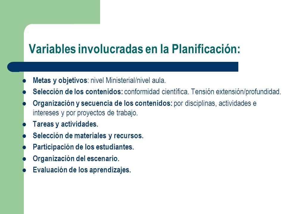 Condicionantes involucrados en la Planificación: Carácter social e histórico de la Enseñanza.