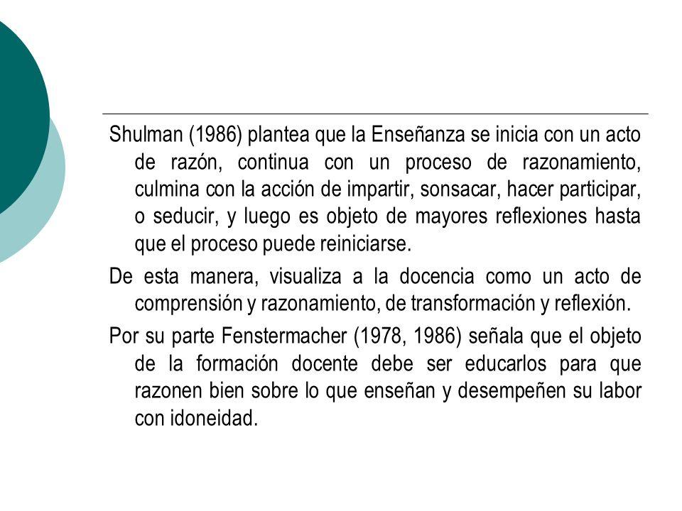 Shulman (1986) plantea que la Enseñanza se inicia con un acto de razón, continua con un proceso de razonamiento, culmina con la acción de impartir, so