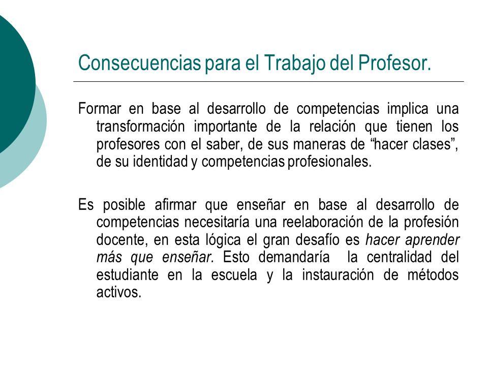 Consecuencias para el Trabajo del Profesor. Formar en base al desarrollo de competencias implica una transformación importante de la relación que tien