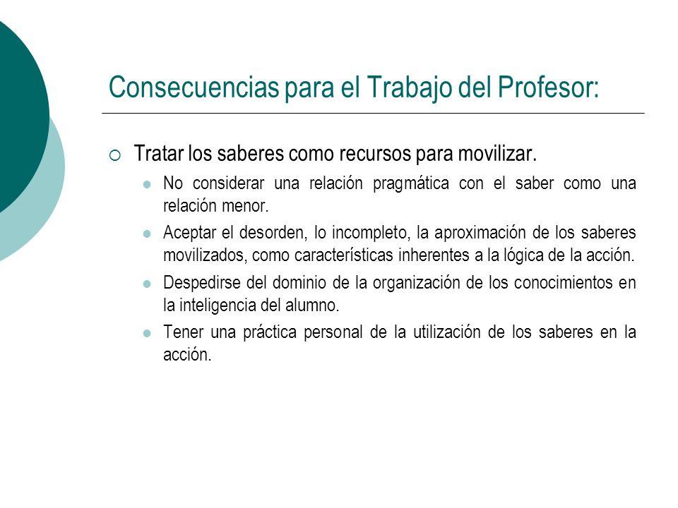 Consecuencias para el Trabajo del Profesor: Tratar los saberes como recursos para movilizar. No considerar una relación pragmática con el saber como u