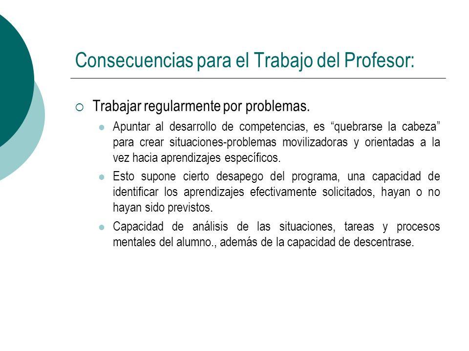 Consecuencias para el Trabajo del Profesor: Trabajar regularmente por problemas. Apuntar al desarrollo de competencias, es quebrarse la cabeza para cr