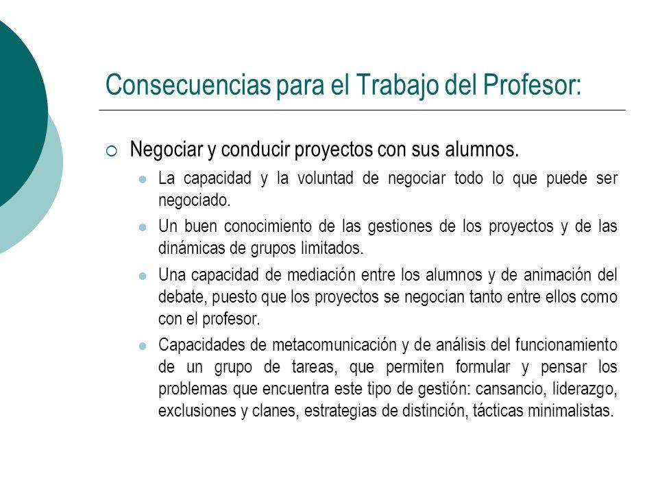 Consecuencias para el Trabajo del Profesor: Negociar y conducir proyectos con sus alumnos. La capacidad y la voluntad de negociar todo lo que puede se