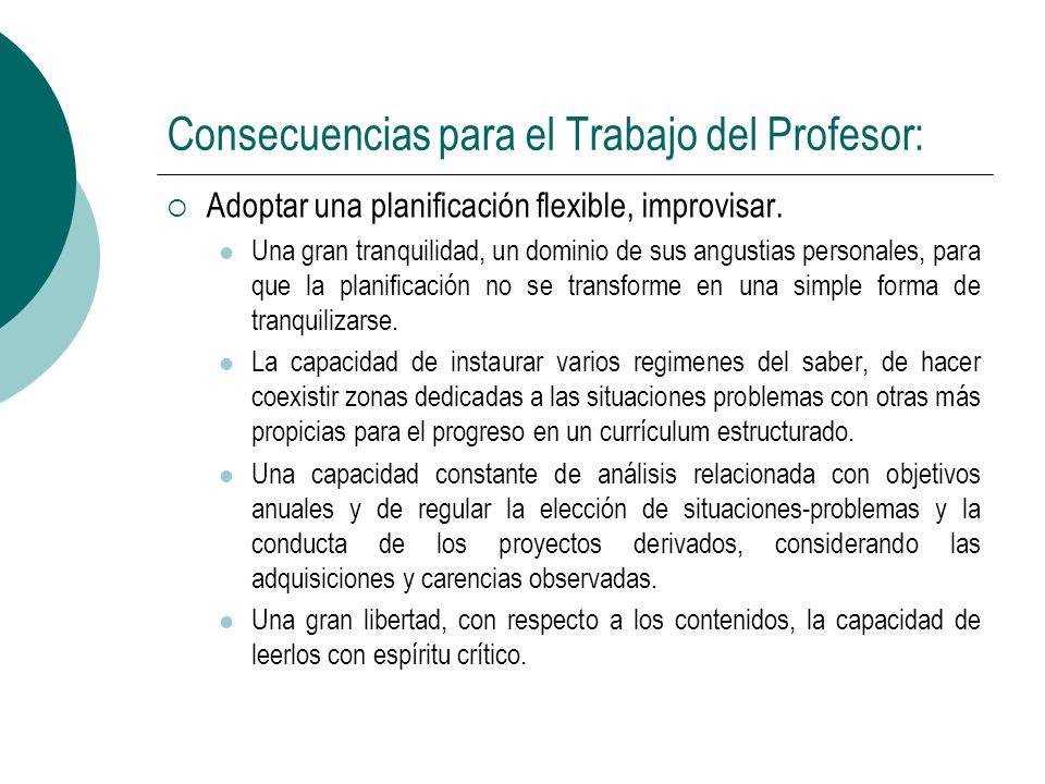 Consecuencias para el Trabajo del Profesor: Adoptar una planificación flexible, improvisar. Una gran tranquilidad, un dominio de sus angustias persona