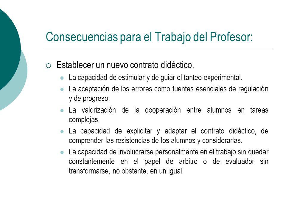 Consecuencias para el Trabajo del Profesor: Establecer un nuevo contrato didáctico. La capacidad de estimular y de guiar el tanteo experimental. La ac