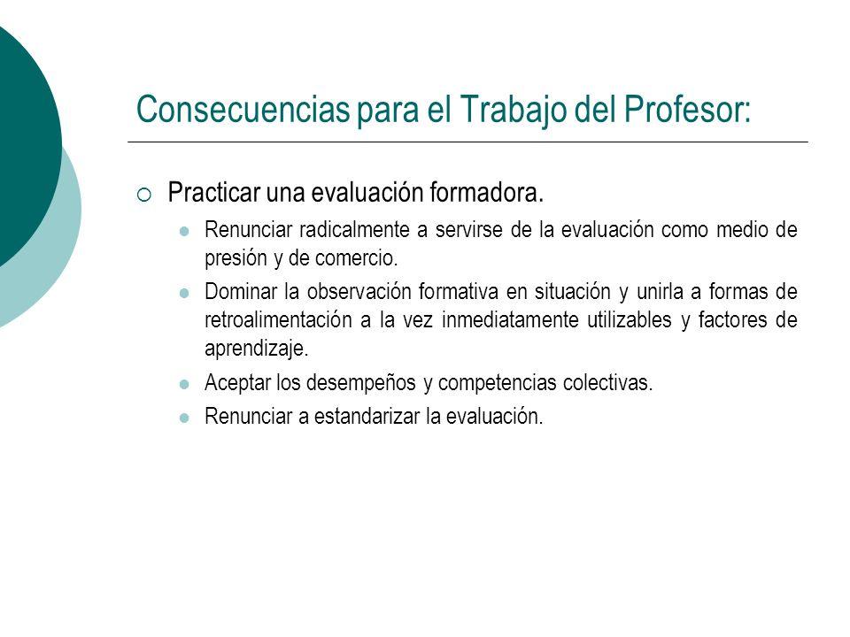 Consecuencias para el Trabajo del Profesor: Practicar una evaluación formadora. Renunciar radicalmente a servirse de la evaluación como medio de presi