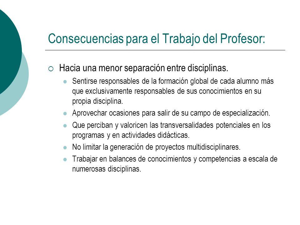 Consecuencias para el Trabajo del Profesor: Hacia una menor separación entre disciplinas. Sentirse responsables de la formación global de cada alumno