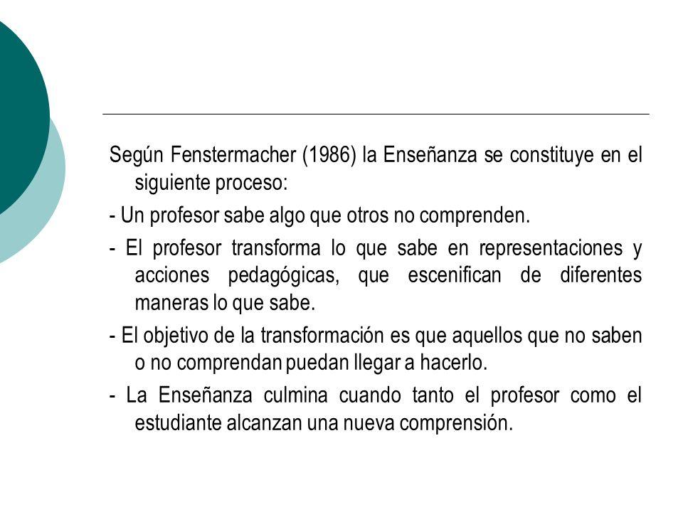 Según Fenstermacher (1986) la Enseñanza se constituye en el siguiente proceso: - Un profesor sabe algo que otros no comprenden. - El profesor transfor