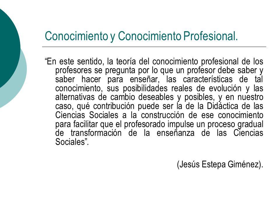 Conocimiento y Conocimiento Profesional. En este sentido, la teoría del conocimiento profesional de los profesores se pregunta por lo que un profesor