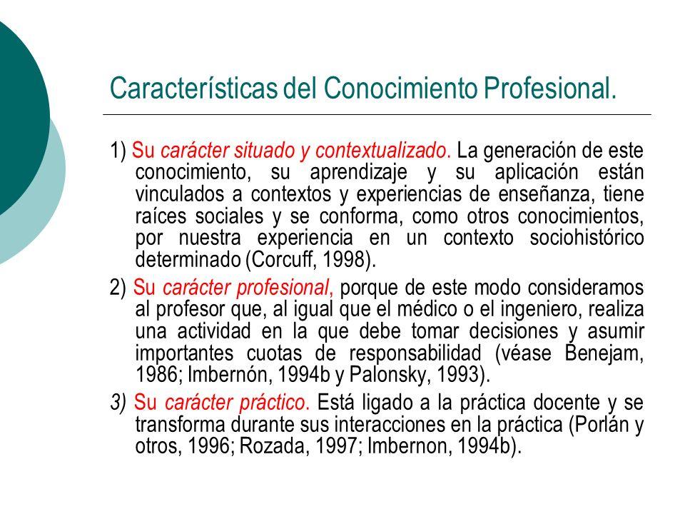 Características del Conocimiento Profesional. 1) Su carácter situado y contextualizado. La generación de este conocimiento, su aprendizaje y su aplica