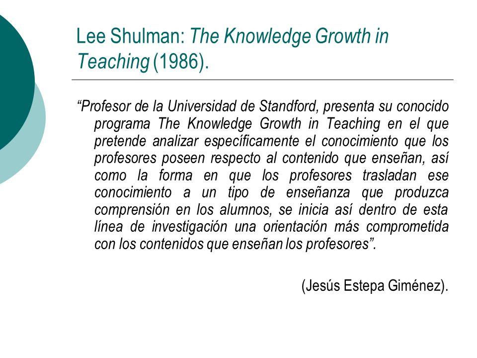 Lee Shulman: The Knowledge Growth in Teaching (1986). Profesor de la Universidad de Standford, presenta su conocido programa The Knowledge Growth in T