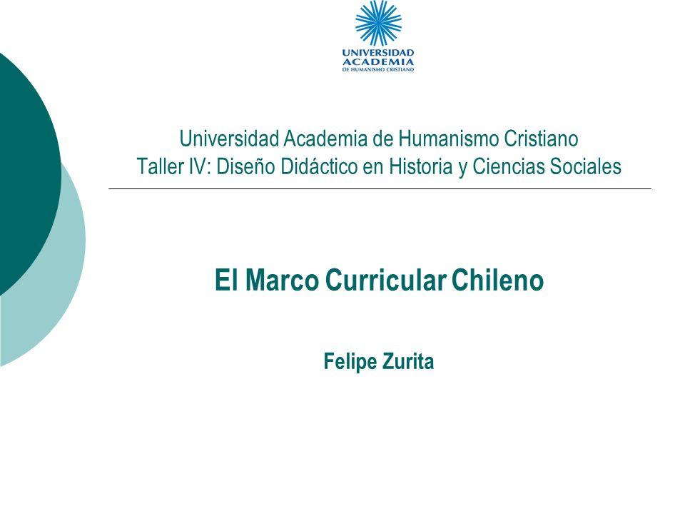 Universidad Academia de Humanismo Cristiano Taller IV: Diseño Didáctico en Historia y Ciencias Sociales El Marco Curricular Chileno Felipe Zurita