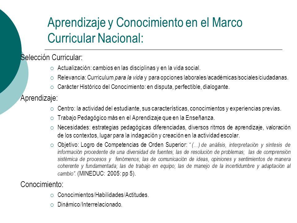 Aprendizaje y Conocimiento en el Marco Curricular Nacional: Selección Curricular: Actualización: cambios en las disciplinas y en la vida social. Relev