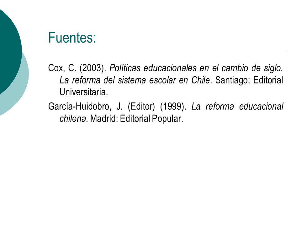 Fuentes: Cox, C. (2003). Políticas educacionales en el cambio de siglo. La reforma del sistema escolar en Chile. Santiago: Editorial Universitaria. Ga