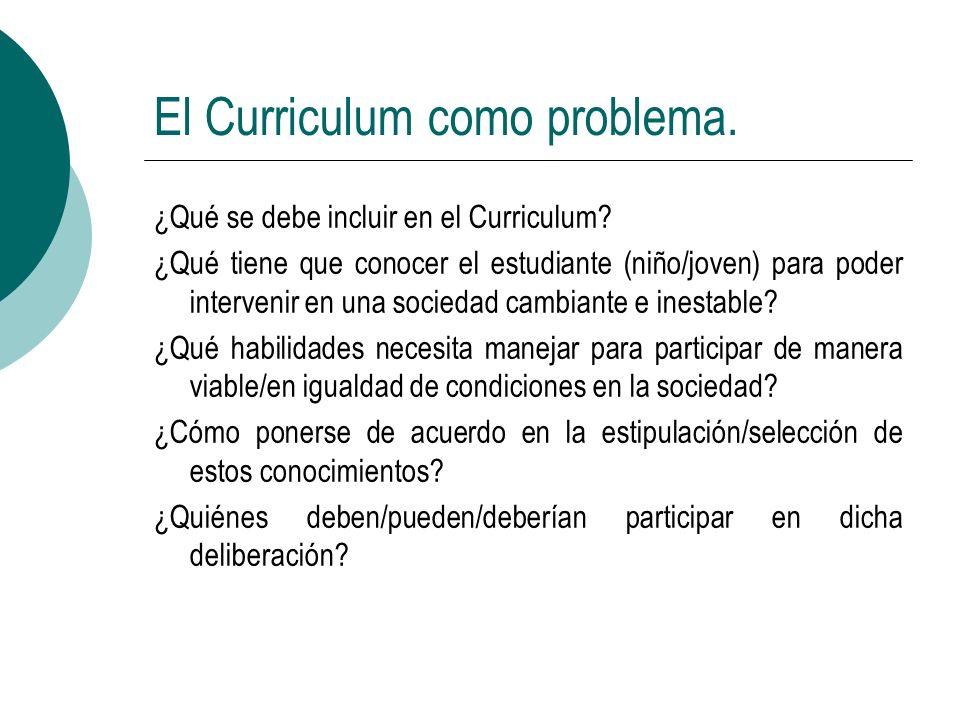 El Curriculum como problema. ¿Qué se debe incluir en el Curriculum? ¿Qué tiene que conocer el estudiante (niño/joven) para poder intervenir en una soc