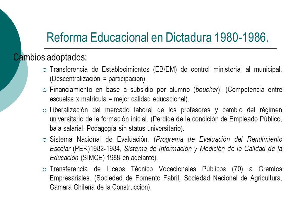 Reforma Educacional en Dictadura 1980-1986. Cambios adoptados: Transferencia de Establecimientos (EB/EM) de control ministerial al municipal. (Descent