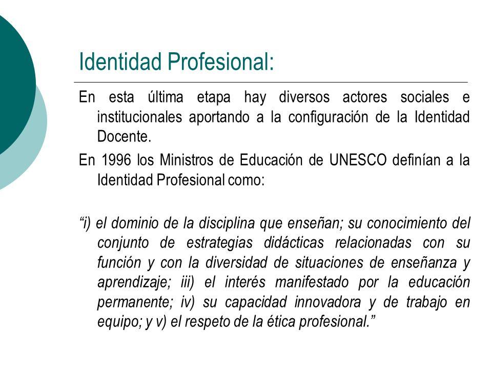 Identidad Profesional: En esta última etapa hay diversos actores sociales e institucionales aportando a la configuración de la Identidad Docente. En 1