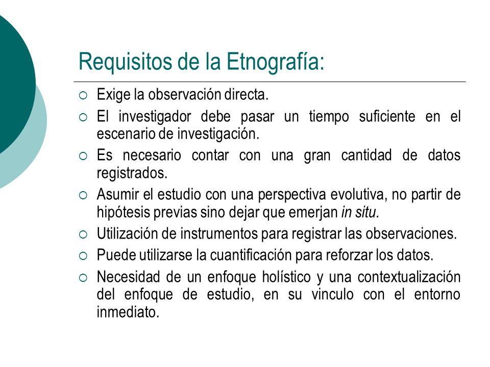 Requisitos de la Etnografía: Exige la observación directa.