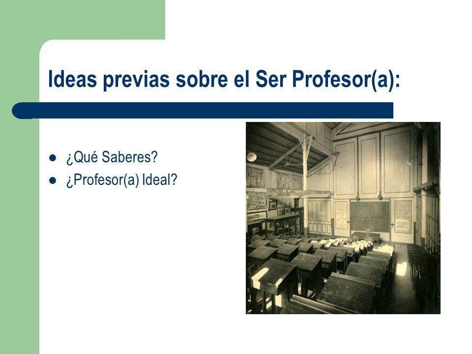 Ideas previas sobre el Ser Profesor(a): ¿Qué Saberes? ¿Profesor(a) Ideal?