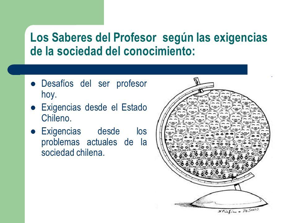 Los Saberes del Profesor según las exigencias de la sociedad del conocimiento: Desafíos del ser profesor hoy. Exigencias desde el Estado Chileno. Exig