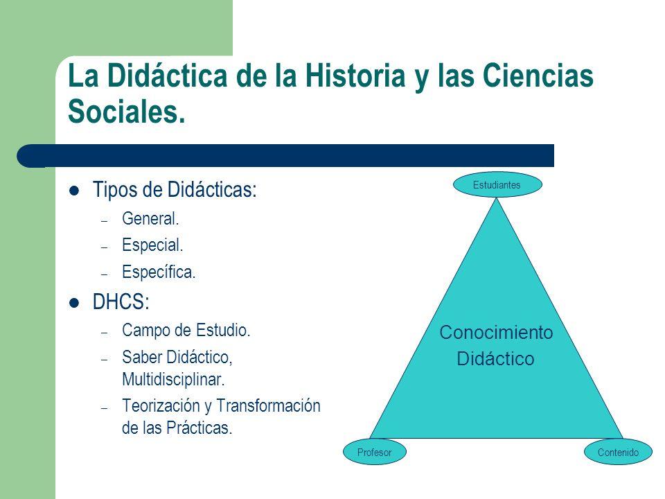 La Didáctica de la Historia y las Ciencias Sociales. Tipos de Didácticas: – General. – Especial. – Específica. DHCS: – Campo de Estudio. – Saber Didác