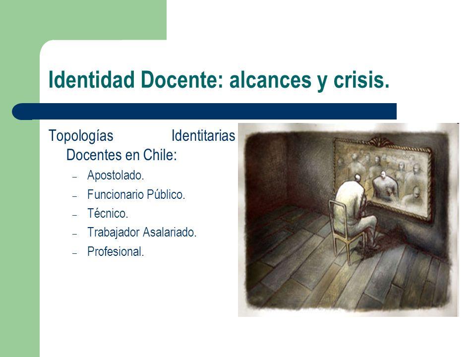 Identidad Docente: alcances y crisis. Topologías Identitarias Docentes en Chile: – Apostolado. – Funcionario Público. – Técnico. – Trabajador Asalaria
