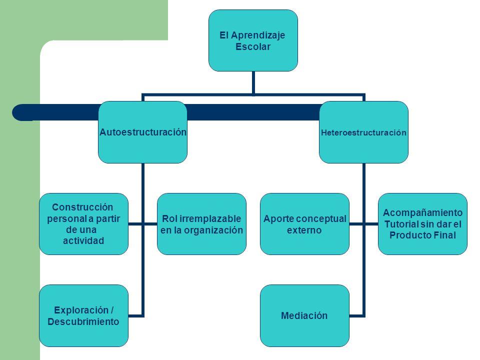 El Aprendizaje Escolar Autoestructuración Construcción personal a partir de una actividad Rol irremplazable en la organización Exploración / Descubrim