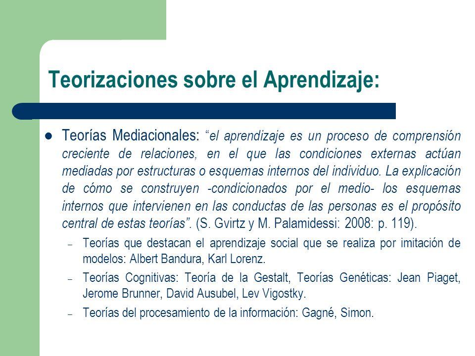 Teorizaciones sobre el Aprendizaje: Teorías Mediacionales: el aprendizaje es un proceso de comprensión creciente de relaciones, en el que las condicio