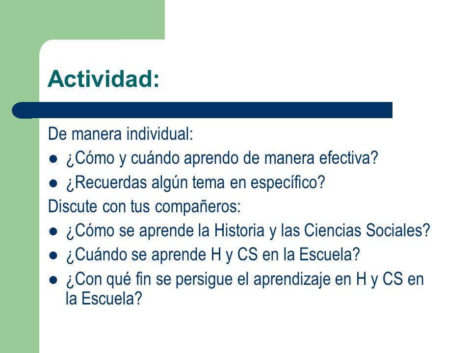 Actividad: De manera individual: ¿Cómo y cuándo aprendo de manera efectiva? ¿Recuerdas algún tema en específico? Discute con tus compañeros: ¿Cómo se