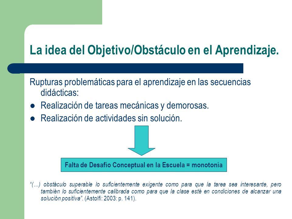 La idea del Objetivo/Obstáculo en el Aprendizaje. Rupturas problemáticas para el aprendizaje en las secuencias didácticas: Realización de tareas mecán