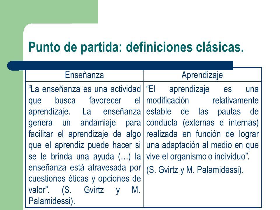 Punto de partida: definiciones clásicas. EnseñanzaAprendizaje La enseñanza es una actividad que busca favorecer el aprendizaje. La enseñanza genera un