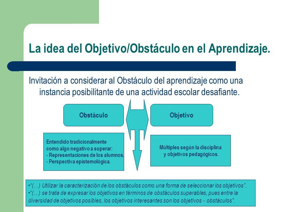 La idea del Objetivo/Obstáculo en el Aprendizaje. Invitación a considerar al Obstáculo del aprendizaje como una instancia posibilitante de una activid