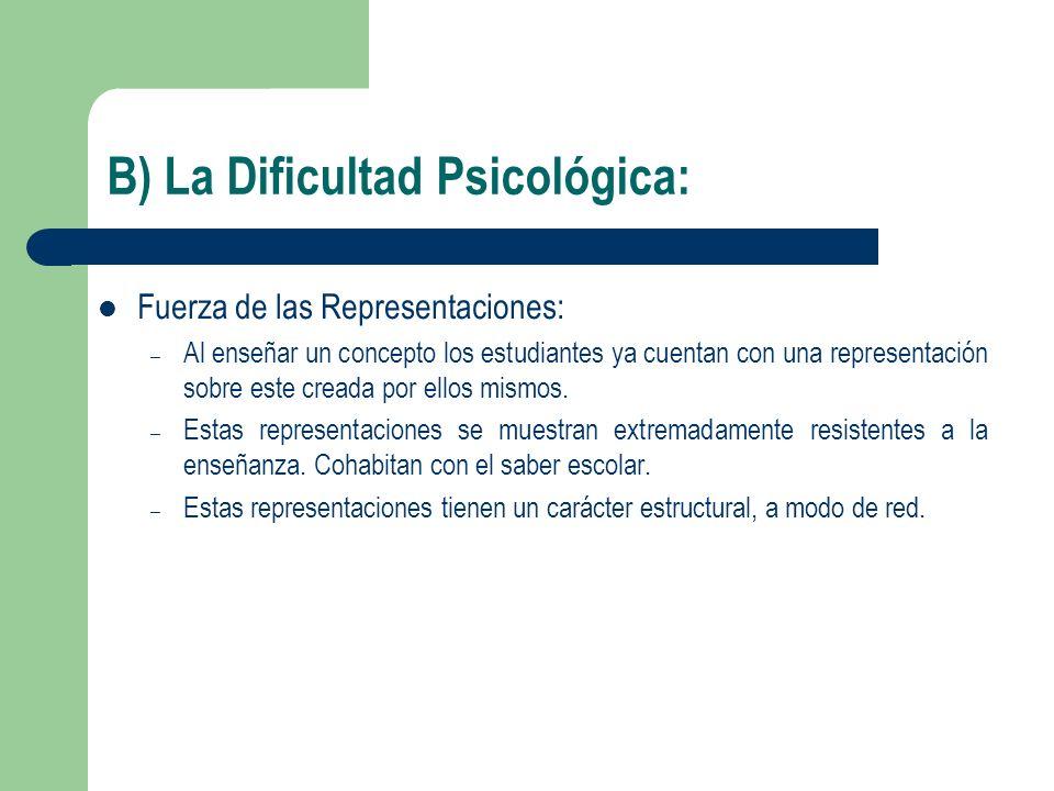 B) La Dificultad Psicológica: Fuerza de las Representaciones: – Al enseñar un concepto los estudiantes ya cuentan con una representación sobre este cr