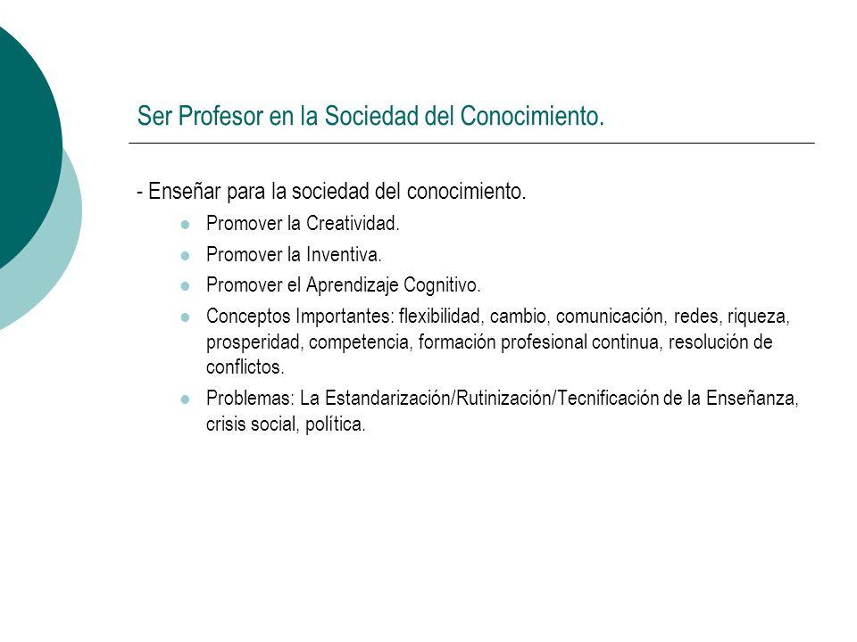 Ser Profesor en la Sociedad del Conocimiento. - Enseñar para la sociedad del conocimiento.